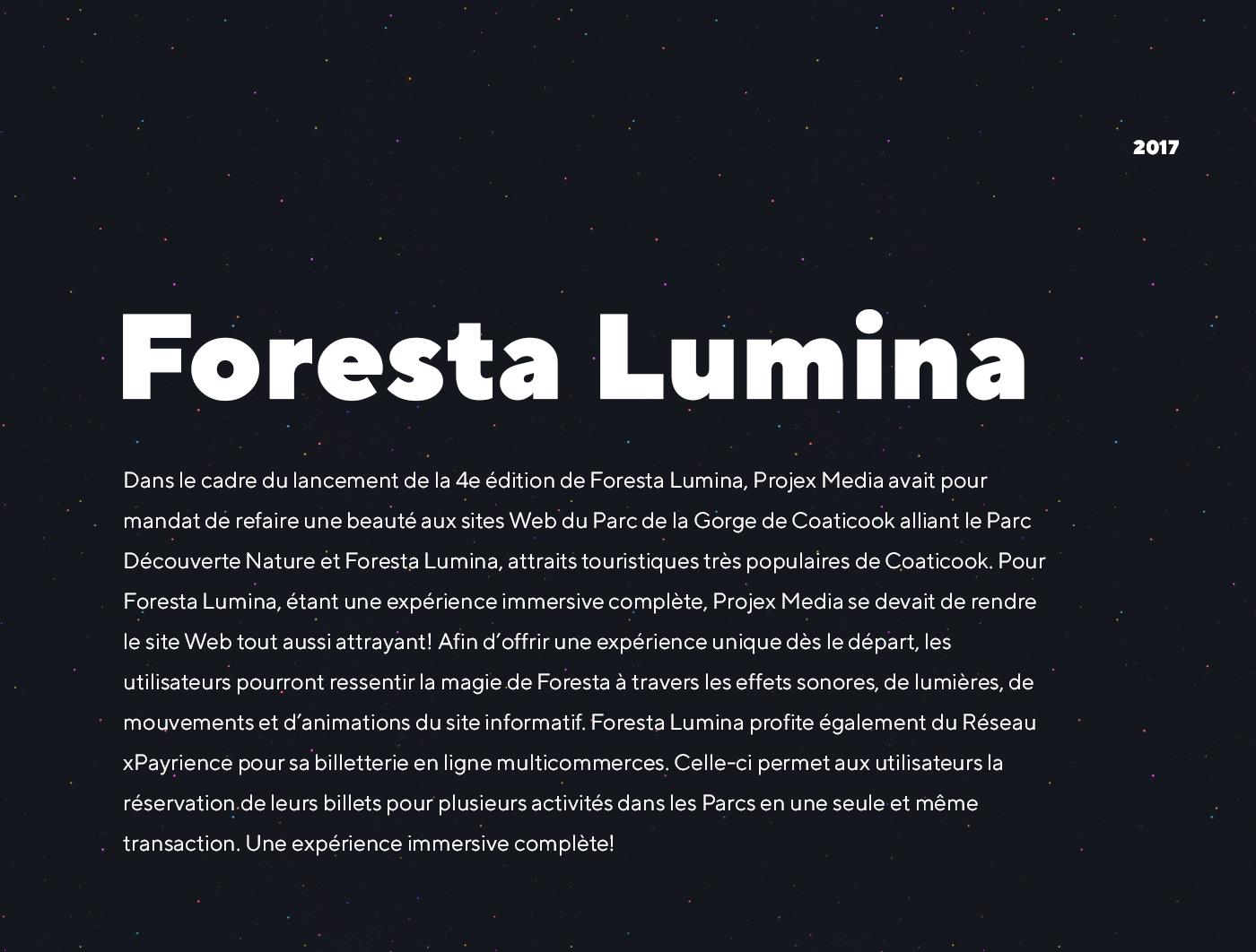 Foresta Lumina - Site Web informatif et billetterie xPayrience - Réalisation signée Projex Media