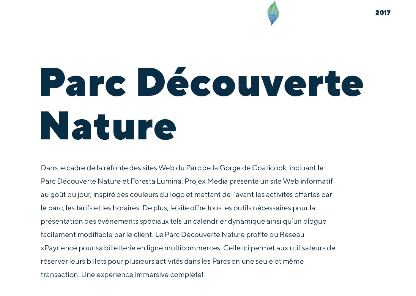 Parc Découverte Nature - Site Web informatif et billetterie xPayrience - Réalisation signée Projex Media