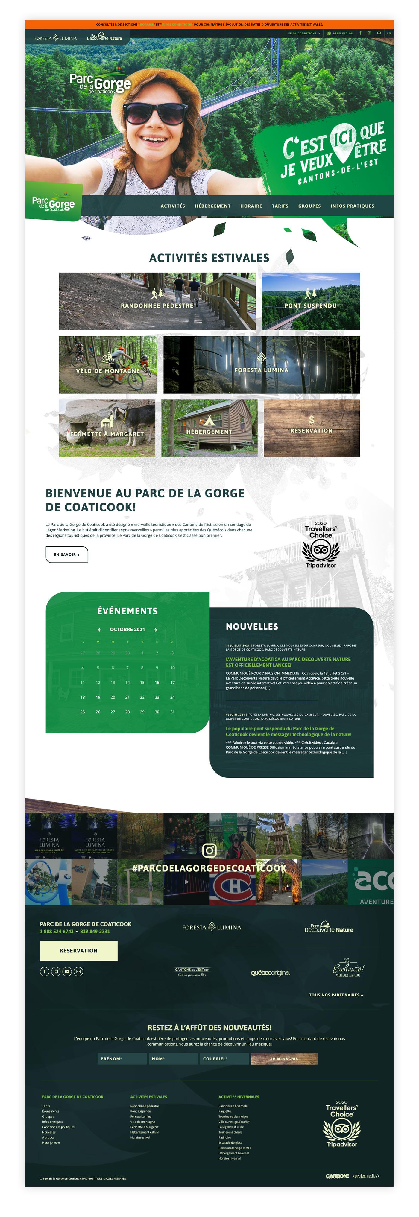Parc de la Gorge de Coaticook - Site Web informatif et billetterie xPayrience - Réalisation signée Projex Media